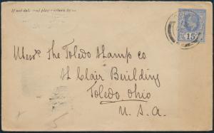 Sri Lanka Ceylon Brief EF 137 King Edward von Colombo nach Toledo Ohio USA