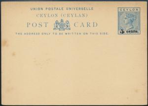 Sri Lanka Ceylon Ganzsache Queen Victoria P 9 Aufdruck 5 a. 6 cent