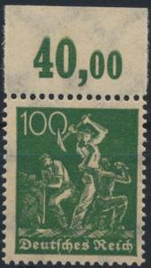Deutsches Reich 187 b POR Arbeiter 100 pfg Oberrand postfrisch ** geprüft INFLA