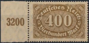 Deutsches Reich 222 c Queroffset 400 M 1922 Seitenrand postfrisch geprüft INFLA