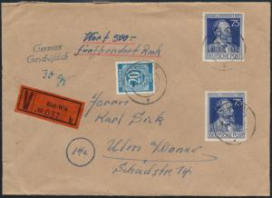 All. Besetzung Wertbrief MIF 20 Pfg. Kontollrat 924 Stephan 964 Kiel-Wik n. Ulm
