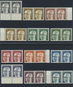 Berlin Heinemann ex. 359-433 kompl. Luxus im Paar 1970-71 postfrisch 23 Werte