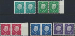 Bund Heuss II 302-306 kompl. je waagerechtes Paar teils vom Rand postfrisch MNH