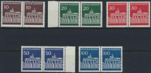 Bund Brandenburger Tor 506-510 komplett waagerechte Paare postfrisch MNH 1966