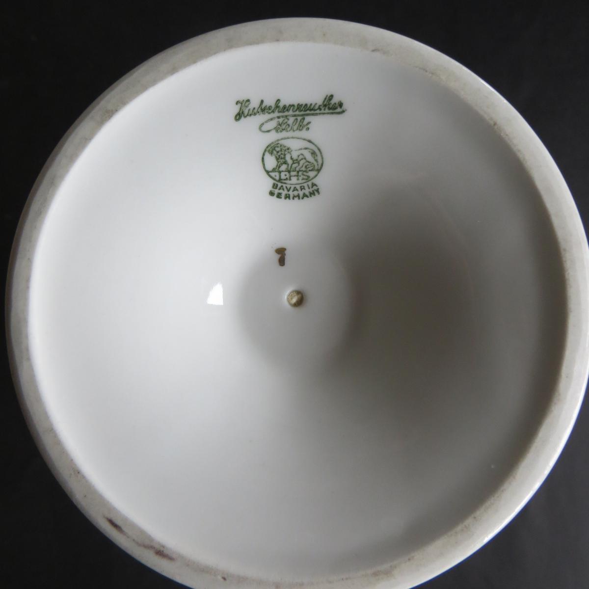 Porzellan schöne alte kleine Vase Hutschenreuther Blumendekor Höhe 23,5 cm 1