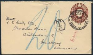 Schottland Ganzsache King Georg 1 1/2p Carnwath Hamburg nachtaxiert blau 20 1933