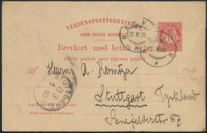 Norwegen Ganzsache P 47 kompl. Frage/Antwort ab Narvik nach Stuttgart 27.7.1904