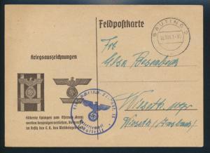 Gauting Propaganda Reich Brief Feldpost-Karte Eindruck betr. Eisernes Kreuz