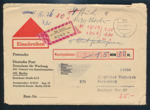 Berlin Brief Nachnahme - Einschreiben als Postsache nach Perleberg 18.01.1968