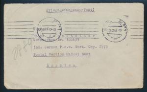 Kriegsgefangenen KGF Post 2 Briefe ab Düsseldorf nach Egypten  einmal kpl. mit