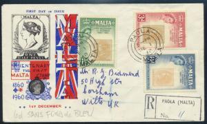 Malta Brief 272-274 100 Jahre Briefmarken FDC Einschreiben Paola Großbritannien