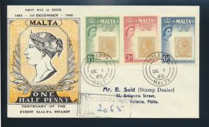 Malta Brief 272-274 100 Jahre Briefmarken FDC Einschreiben Valetta 1.12.1960