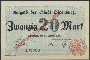Geldscheine Banknote Notgeld Stadt Oldenburg 1918 20 Mark vorzüglich XF Geiger 2