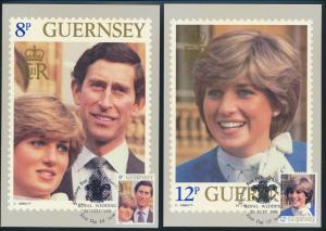 Guernsey 7 Künstlerkarten Hochzeit von Prinz Charles und Diana Ersttagsstempel