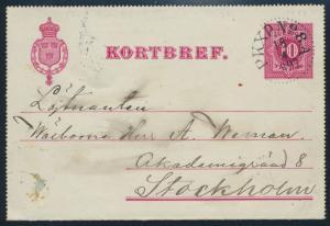 Schweden Ganzsache Kartenbrief K 2 mit Bahnpost-Stempel PKXP.No. 8.A. Stockholm