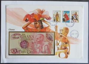 Geldschein Banknote Banknotenbrief Afrika Africa Ghana 10 Cedis exotisches Motiv