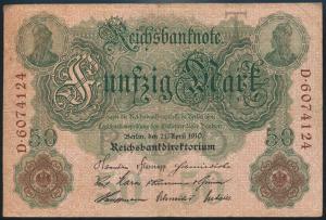 Deutsches Reich Geldschein Reichsbanknote 50 Mark KN 7-stellig III-IV R 25b