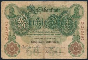 Deutsches Reich Geldschein Reichsbanknote 50 Mark KN 6-stellig III-IV R 25a