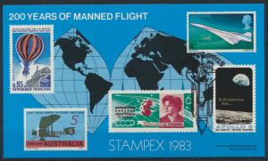 Stampex 1983 200 Years of manned flight Vignette