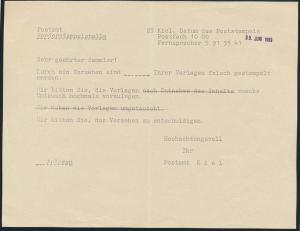 Kiel Post Postsache zwei verschied. Belege 1969 Schleswig Holstein