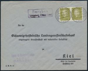 Deutsches Reich MEF 465 Ebert Landpoststempel Barsbek Schönberg n Kiel Schleswig