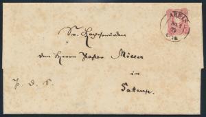 Deutsches Reich Brief EF 33 10 Pfge K2 Arnis 30.7.1879 nach Sartrup kompl. mit