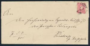 Deutsches Reich Brief EF 41 10 Pfge K2 Arnis 1.8.1883 nach Foltrup via Kappeln