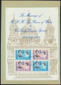 Isle of Man Block 5 Hochzeit von Prinz Charles und Diana Spencer gestempelt