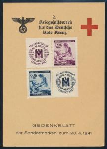 Böhmen & Mähren Propaganda Gedenkblatt Kriegshilfswerk Rotes Kreuz 1941