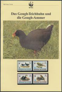 WWF Tristan da Cunha 513-516 Vögel Teichhuhn und Ammer kpl. Kapitel bestehend