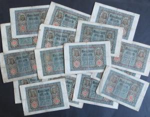 16x Geldscheine Banknoten 100 Mark Ro: 67 1920 V.