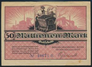 Geldschein Banknote Braunkohlenwerke Borna 50 Millionen Mark