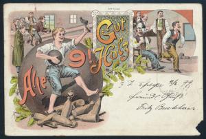 Ansichtskarte Litho Kegeln Gut Holz Speyer nach Gevelsberg 1899 Sport
