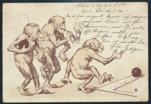 Ansichtskarte Kegeln Tiere personifizierte Affen Berlin an Kegelklub Gevelsberg