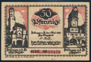 Geldschein Banknote Dillingen 50 Pfennig 1920
