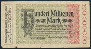 Banknote Deutsches Reich 100 Mio. Mark Trier und Birkenfeld gebraucht
