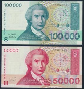 2x Geldscheine Banknoten Kroatien 50000+100000 Dinar P26-27 UNC