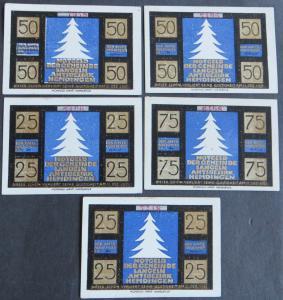 5x Notgeld Geldscheine Banknoten Langeln 25-75 Pf 1921 Grabowski 764.1