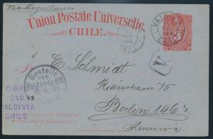 Chile Ganzsache Postkarte P 15 3c karmin ab Vakdivia n. Berlin 1903 + R1 V.