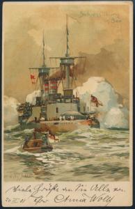 Ansichtskarte Marine Schiff Seefahrt Litho Schießübung in See Künstler W Ströwer
