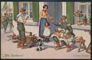 Ansichtskarte Künstler sign. Arthur Thiele Militär I. WK Soldaten Wir Barbaren
