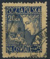 Polen 248 20+5 Gr. Für die Volksschulen gestempelt
