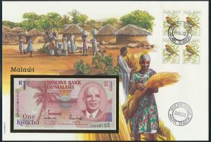 Banknote Geldschein Banknotenbrief Malawi Ostafrika Schein + Briefmarkenausgabe