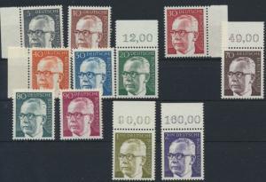 Bund Heinemann ex 635-732 postfrisch viel mit Oberrändern Seitenränder 25-190 Pf