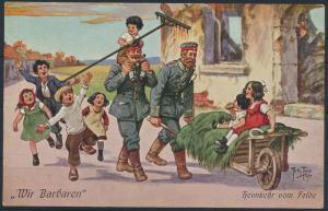 Ansichtskarte Künstler sign. Arthur Thiele Wir Barbaren Soldaten