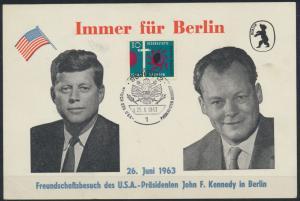 Bund historischer Sonderbeleg Kennedy Brandt Berlin 1963 Politik Geschichte