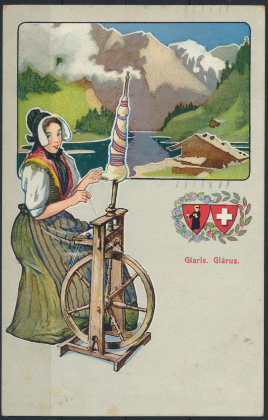 Ansichtskarte Jugendstil Künstler handcoloriert Schweiz Glaris Glarus Frau  0