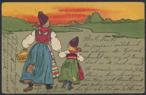 Ansichtskarte Jugendstil Kunst Künstler handkoloriert Niederlande n. Ossendrecht