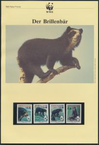 WWF Bolivien 1137-1140 Der Brillenbär kpl. Kapitel bestehend