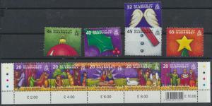 Guernsey 1023-1032 Fünferstreifen + 5 Werte Weihnachten ** 2004